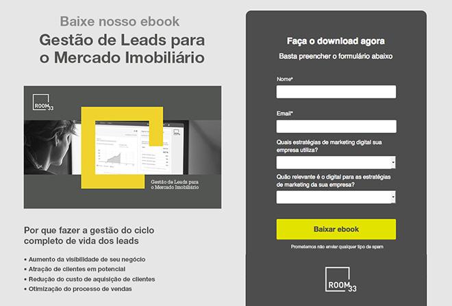 landing page para conversão de leads com formulario de cadastro e call to action