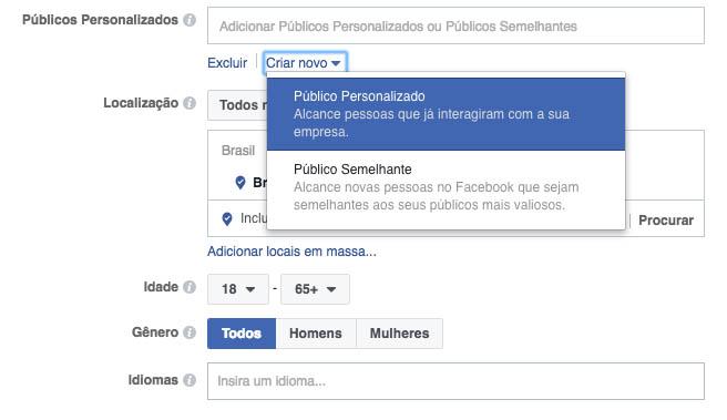 criar público personalizado no facebook