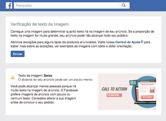 sobreposicao do texto nos anuncios de facebook