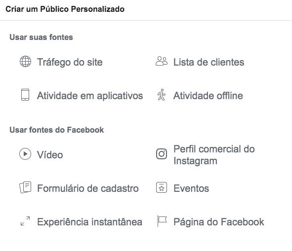 tipos de publicos personalizados no Facebook